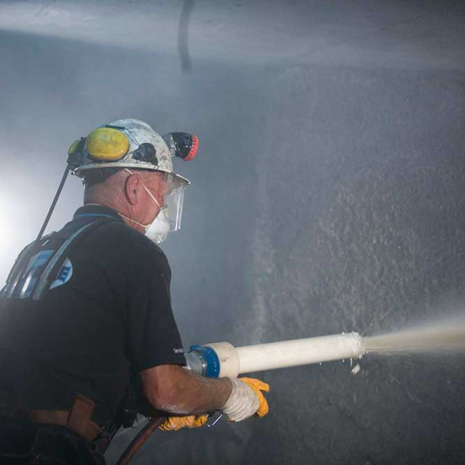 Aquacrete uses shot blast technology to provide the ultimate underground mine safety solutions